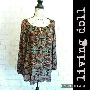 Living Doll L.A. autumn peasant top, like new